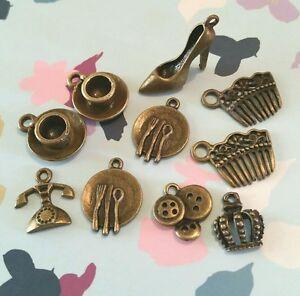 10 X Bronce Tono Nena mezcla encantos fabricación de joyas, artesanías, té, Zapato, Amor
