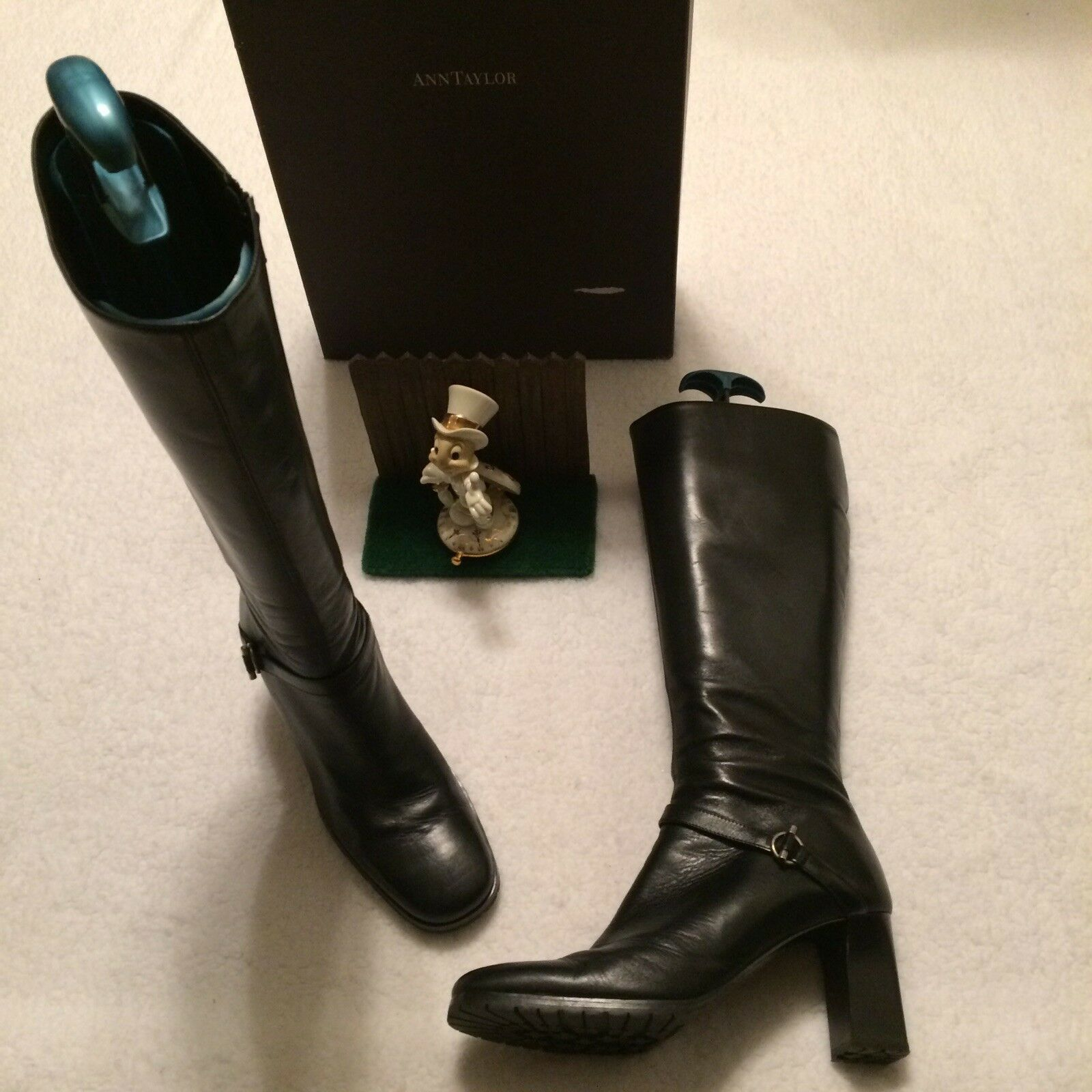 ANN TAYLOR WOMENS 10.5M BLACK LEATHER JACOBSON JACOBSON JACOBSON KNEE HIGH BOOTS MINIMAL WEAR cd1d25