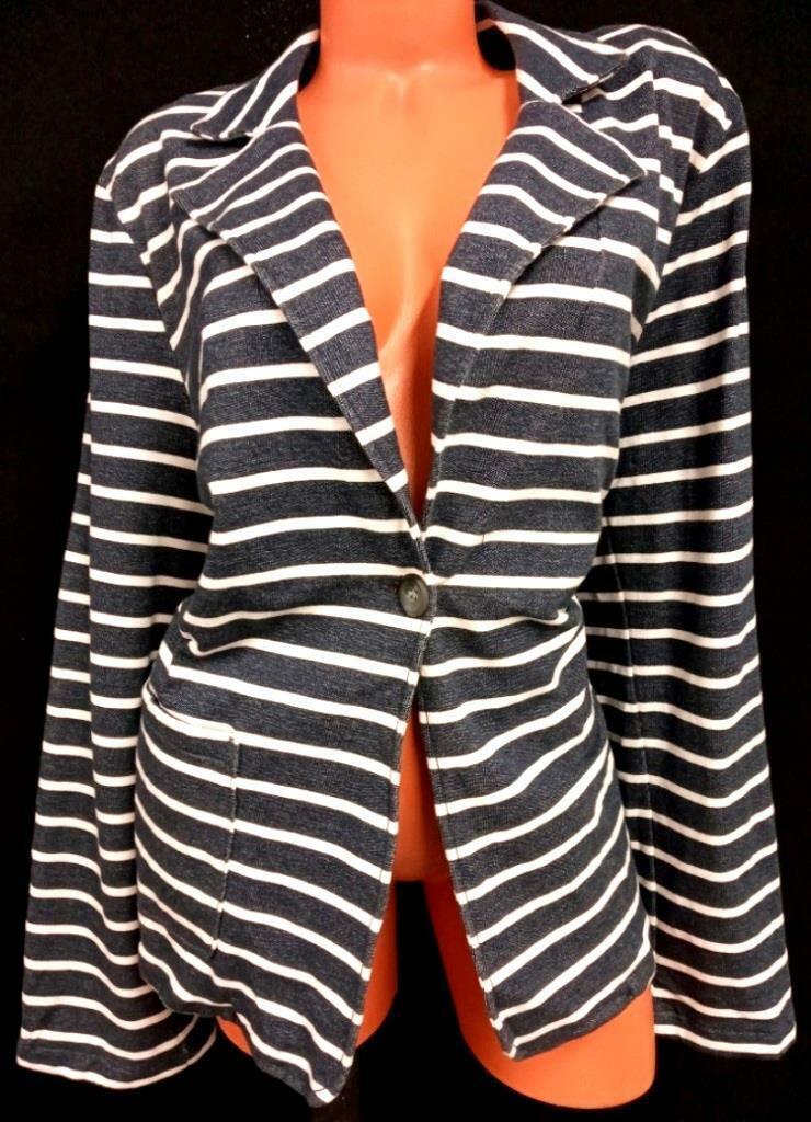 * Old Navy blue striped long sleeves stretch single button blazer jacket XXL