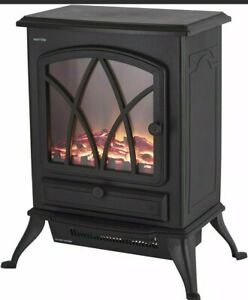 Warmlite Sterling Electric Stove Heater Realistic LED Log Fire 2Kw Black