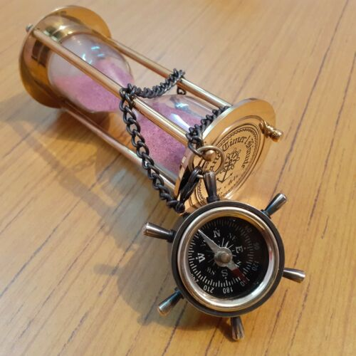 Handmade Nautical Brass Wheel Compass Chain Marine Vintage Sand Timer Gift Set