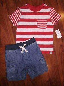 Nwt Baby Gap Boys 12-18 Months Outfit Gap Logo Striped Shirt /& Cargo Shorts
