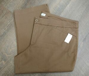 COLDWATER-CREEK-CAPRI-PANTS-SZ-20-NWT-TAN-KHAKI-CROPPED-FLAT-FRONT-POCKETS
