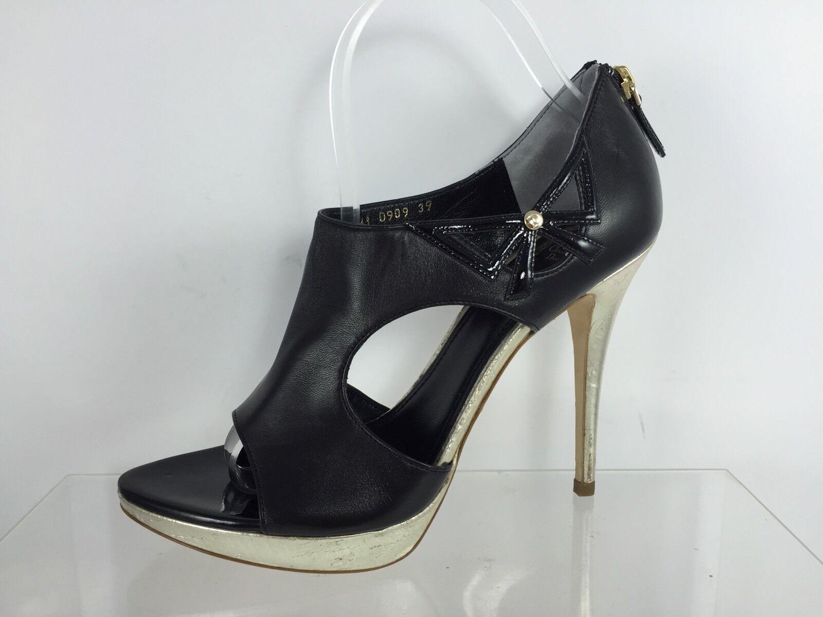 Christian Dior Black Leather Lolita Peep Toe gold Cork Platform Booties 39