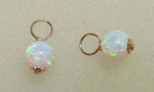 6mm-Lab-White-Fire-Opal-INTERCHANGEABLE-Earring-Charms-925-SILVER-ROSE-or-YG