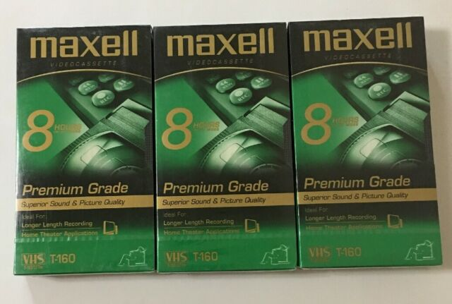 New Maxell GX-Silver T-160 High Quality 8 Hour VHS Tapes Lot Of 3 - FACTORY SEAL