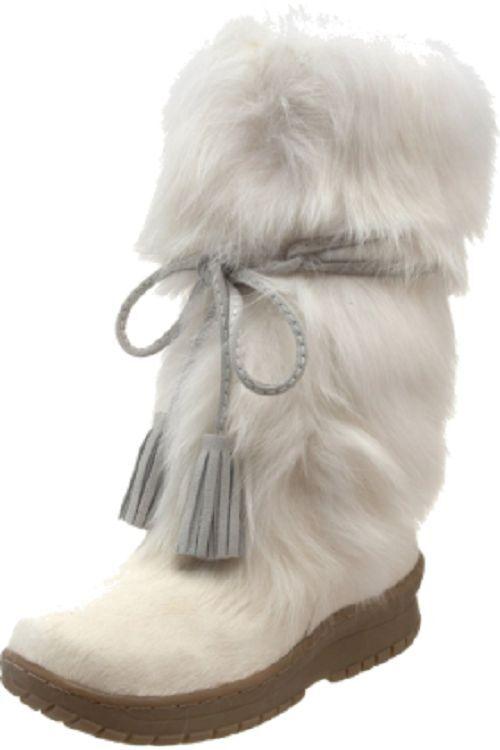 Bearpaw Donna Shako II Fox Fur Sheepskin Mid-Calf Boot Shoe Size 5 Huge Sale