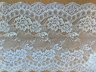 "Pretty /& Delicate 7/""//18cm Ivory Galloon Flat Tulle Lace Trim *FREE 1ST CLASS*"