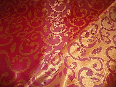 Nr 2137-2138 Gardinen Vorhang Deko Stoff METERWARE Rot /& Gold-gelb oder Creme