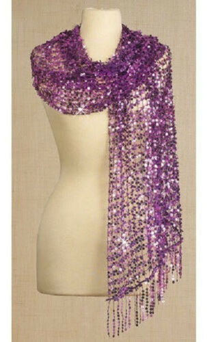 """SEQUINED SCARF NEW 64/"""" x 22/"""" sequin BLACK PURPLE IRIDESCENT WHITE PINK Beach"""