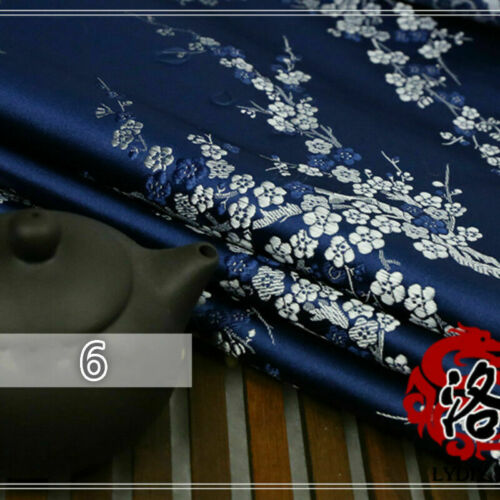 Jacquard Brocade Satin Faux Silk Fabric Chinese Floral Retro DIY Upholstery Soft