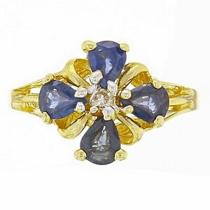 14k-Yellow-Gold-Pear-Sapphire-amp-Diamond-Lucky-Clover-Cluster-Ring-Size-6-5