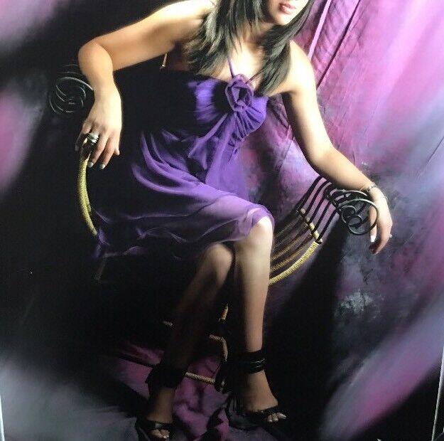 ALEZIA EMBELLISHED PURPLE SILK SHORT DRESS SIZE SMALL