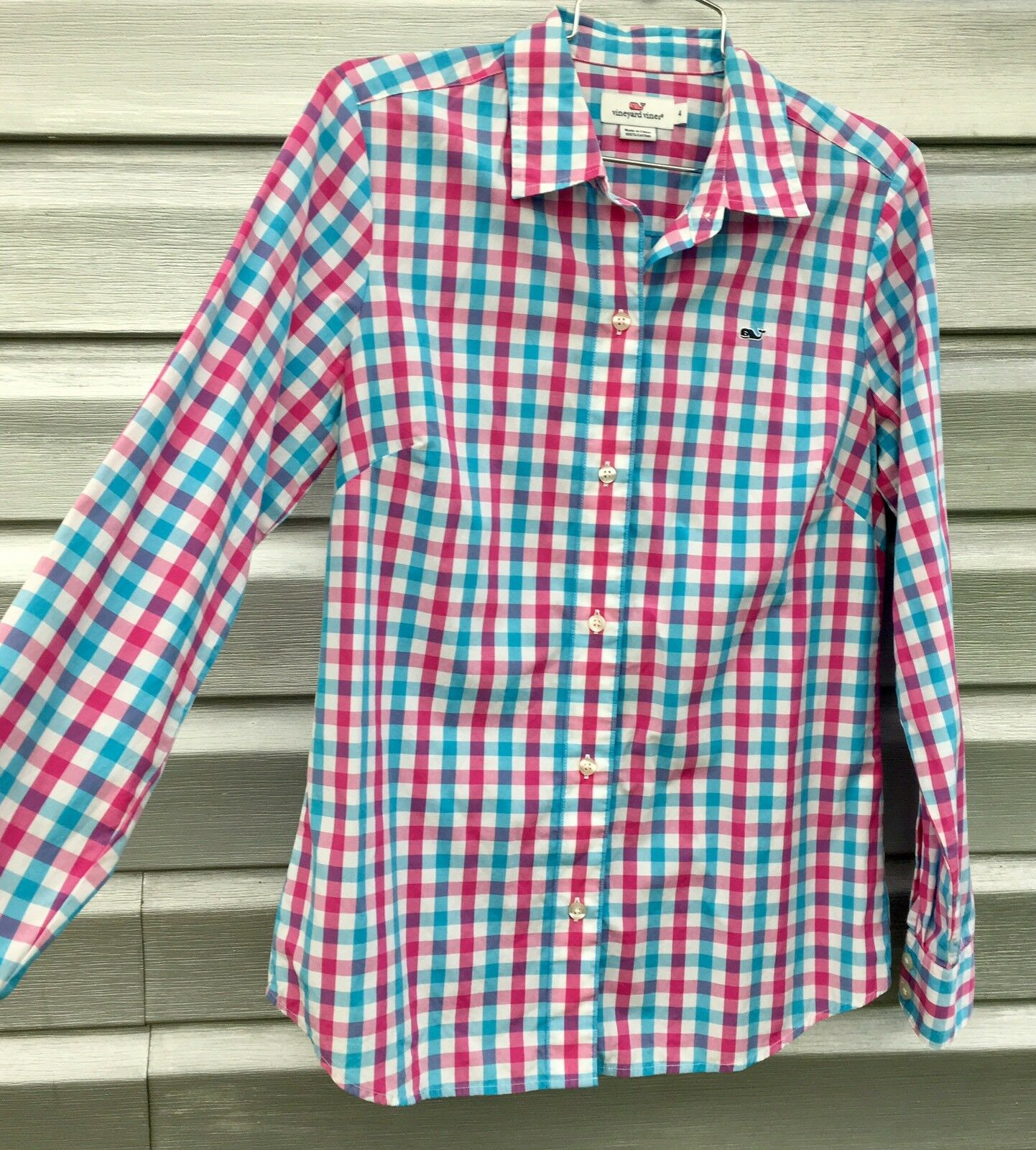 VINEYARD VINES Rosa Blau Long Sleeve Plaid Blouse Top