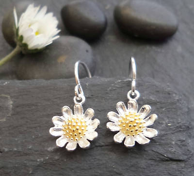 925 Sterling Silver Small Daisy Flower Chain PULL THRU DROP Earrings X/'Mas GIFT