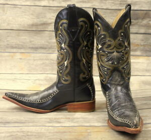 dc3e3696495 Cowboy Boots Black Pointy Toe Mens Size 6 Yellow White Pointed Foot ...