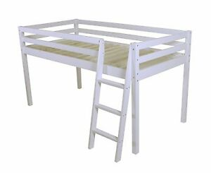 New Mid Sleeper Cabin Bed Loft Bunk White Frame Shorty Childrens Bed