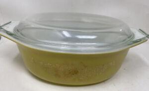 Vintage Pyrex Casserole Dish Golden Garland 1.5 Qt. w/ Lid 043 Yellow Gold