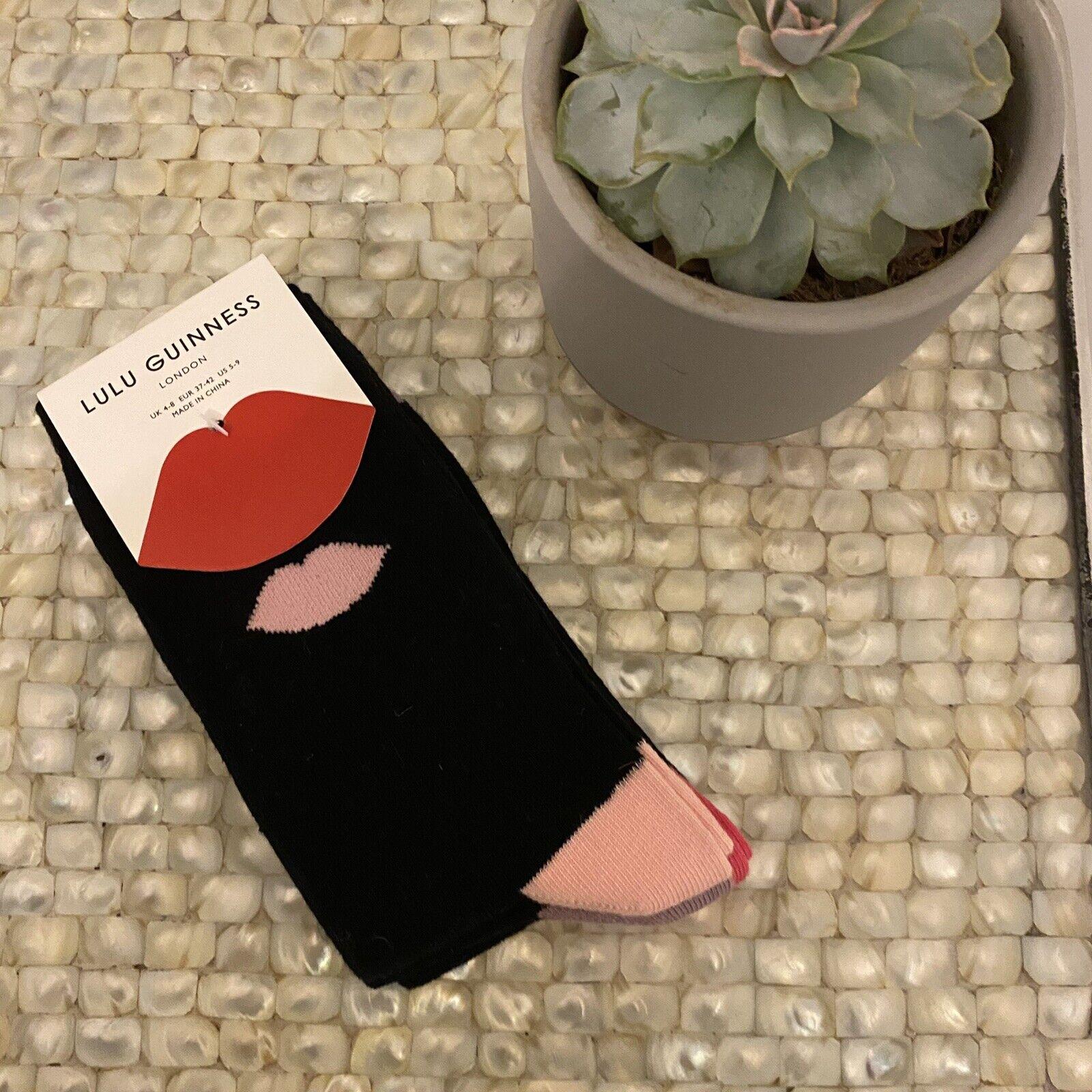 Lulu Guinness womens 4-8 black lip print socks gift pack quirky cotton blend NEW