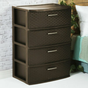Details About 4 Drawer Dresser Chest Plastic Storage Organizer Cabinet Wide Weave Espresso