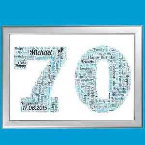 70th birthday word art unique personalised gift for seventieth
