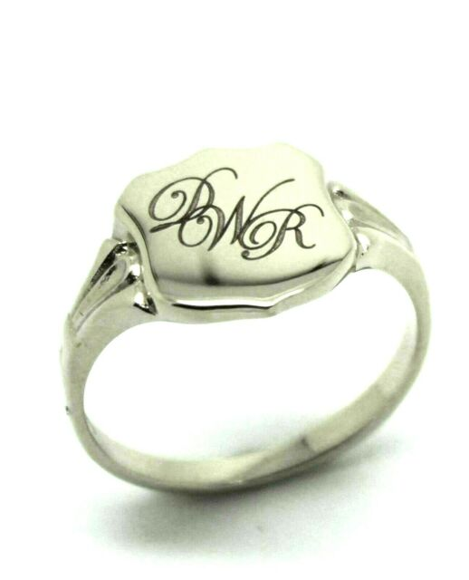 STERLING SILVER LARGE SIGNET RING IN YOUR SIZE PLUS ENGRAVING OF THREE INITIALS
