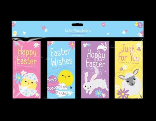 Easter Money Wallets 4pk Bunny Rabbit Kids Egg Hunt Vouchers Card Gift Envelopes