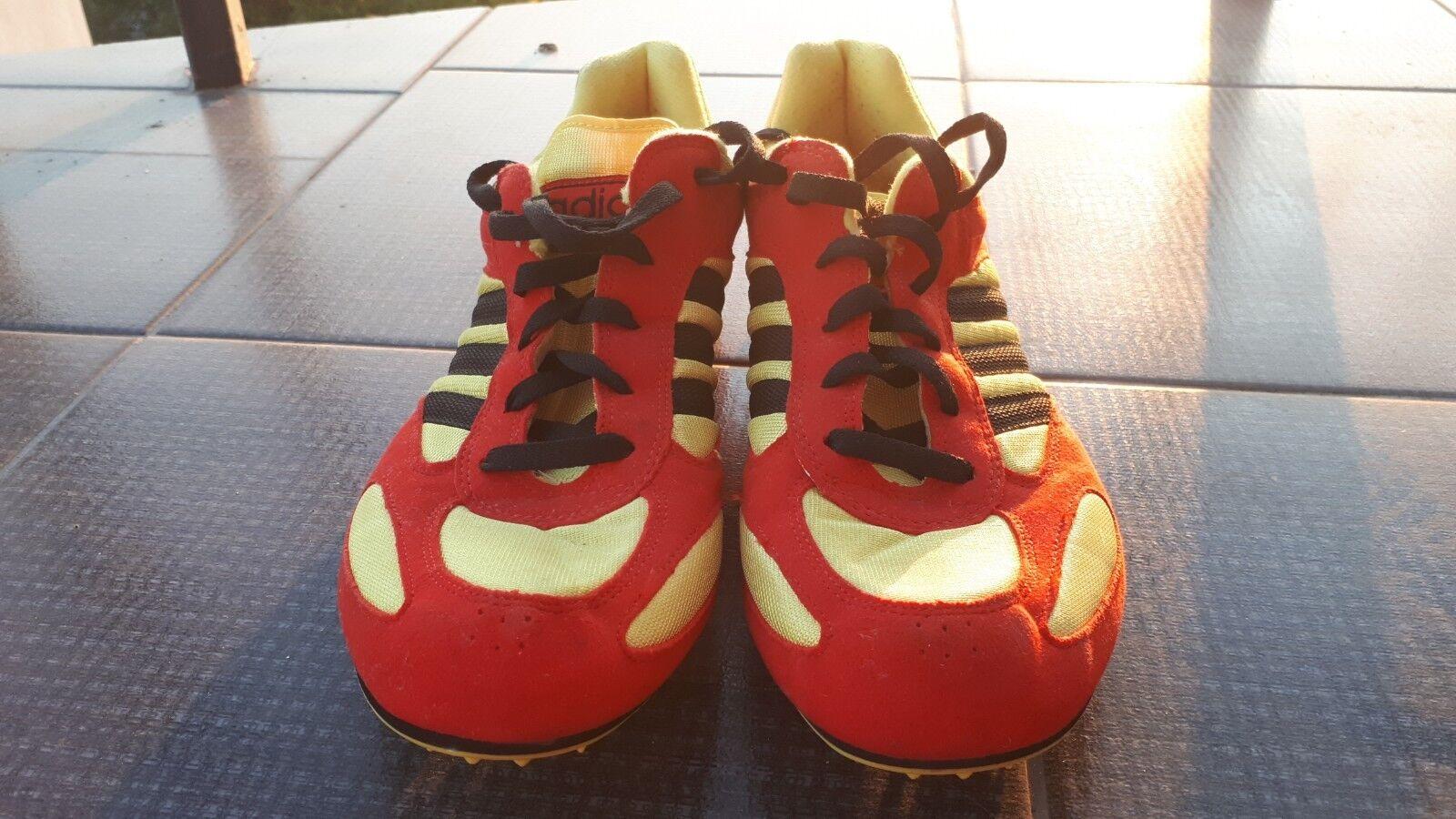 Rara ROJO AMARILLO 1990s de Colección Adidas Zapatos Para  Correr Picos Sprinter tamaño 11 1 \ 2  descuento de ventas