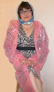 Extra-Large-Vintage-Hooded-Pink-Ladies-Plastic-Mac-Vinyl-Raincoat-PVC-Fetish-TV
