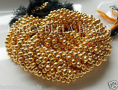 "12"" strand gold coated PYRITE faceted gem stone round beads 4.5mm - 5mm"