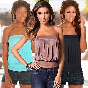 Women-Strapless-Sexy-T-Shirt-Summer-Bandeau-Casual-Tank-Top-Blouse-Vest-Tee-4-12