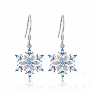 Aquamarine-Snowflake-Crystal-Hook-Earrings-925-Silver-Womens-Girl-Xmas-Jewellery