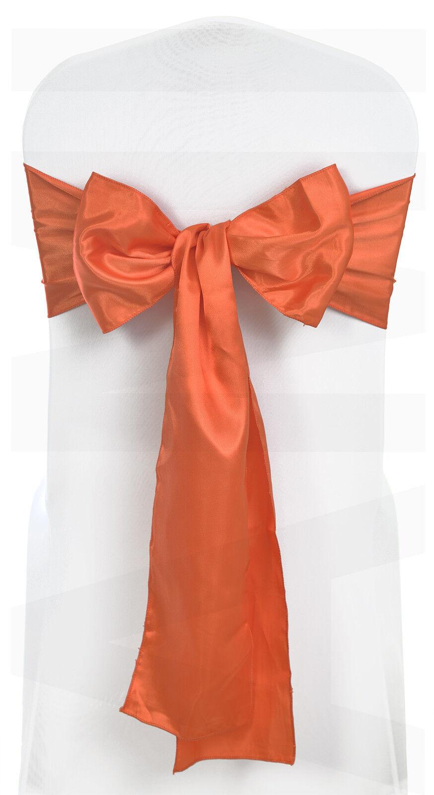 Satin orange de brûlé chaise avec nœud de orange ruban liens Mariage Venue Décoration packs de 1 à 200 bc1877