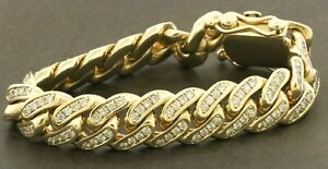 Heavy-10k-yellow-gold-9ct-diamond-cluster-thick-cuban-link-chain-bracelet