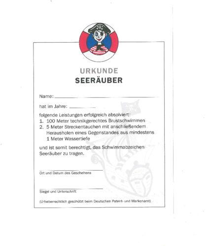 Seeräuber Frühschwimmerabzeichen Urkunde /& Stoffabzeichen 10er-Set Frühschwimmer