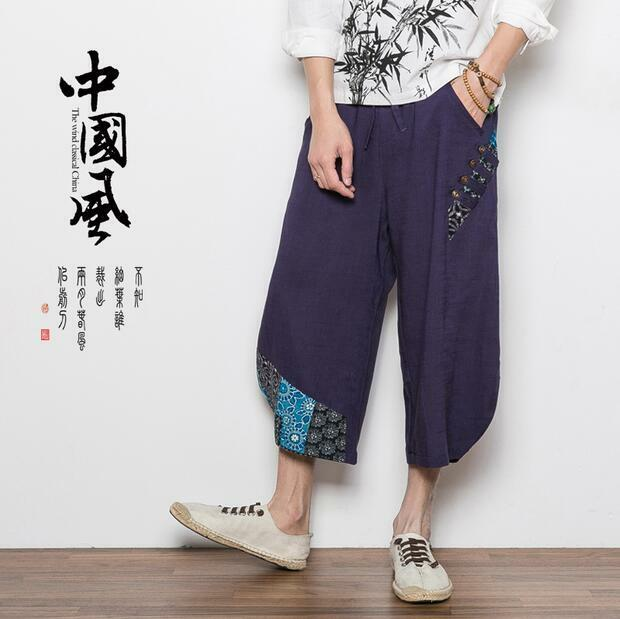 Mens Loose Casual Pants Wide Leg Beach Shorts Cropped Linen Cotton Trousers Size