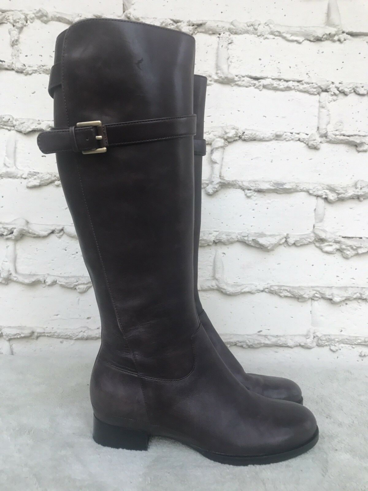 EUC Womens ECCO Dark Brown Leather Knee High Riding Boots Size EUR 37 US 6.5