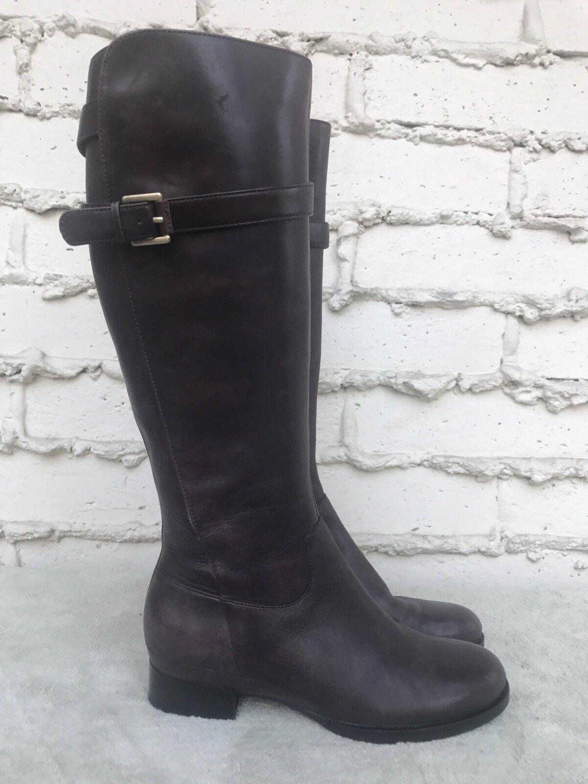 Excelente condición usada mujeres Ecco Cuero Marrón Oscuro Rodilla alta botas de Montar US
