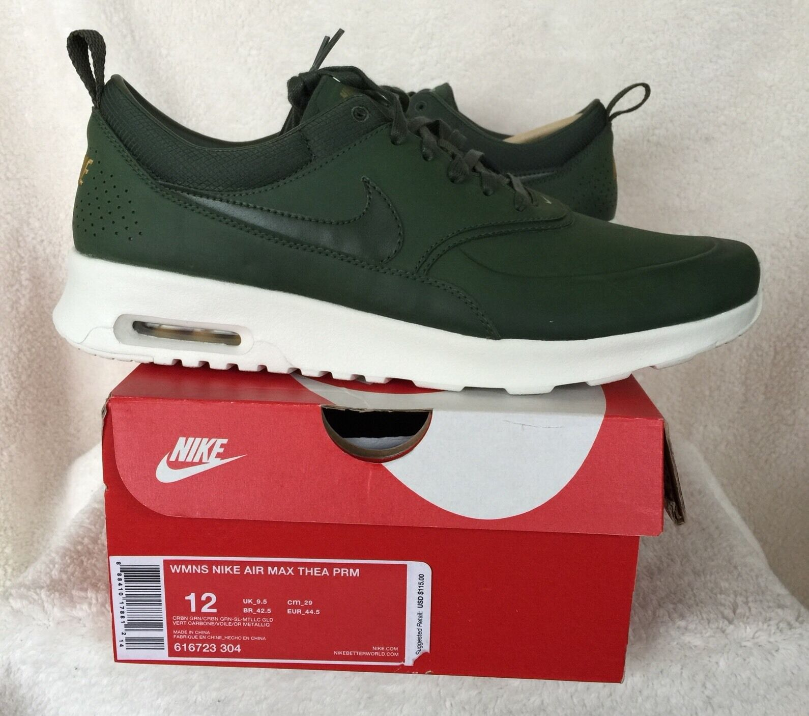 hot sale online 671cb 92aa5 Nike Air Max Thea Premium Womens 616723-304 Carbon Green Running Shoes Size  12 for sale online  eBay