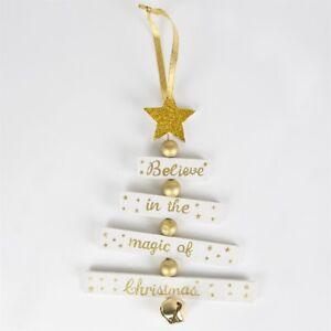 Albero Di Natale Auguri.Albero Di Natale Auguri Credere In Oro Bianco Sass Belle Natale Luccicante Decorazione Ebay