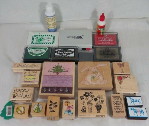 Lot of wooden rubber stamps, Christmas, Easter, Birthday, plus ink and cleaner