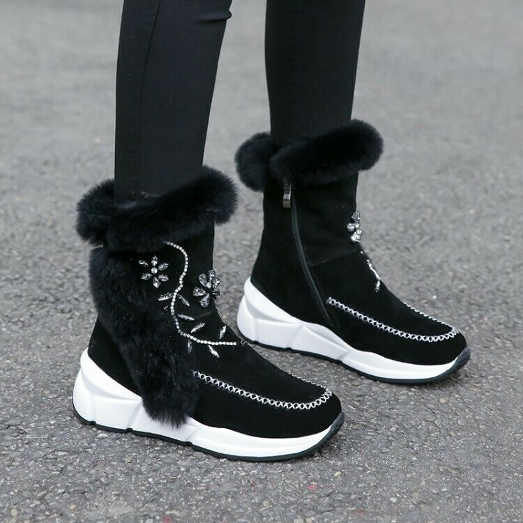 Fashion Women's Round Toe Warm Fur Lining Rhinestones Thick Shoes Boots Shoes