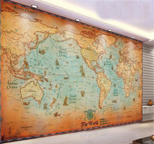 World Map Prepasted Wallpaper Wallcovering Home Decor Mural BZ714