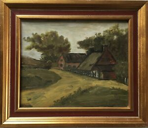 Oil-Painting-Landscape-With-Farmhouse-Country-House-France-Paris-Anonymous
