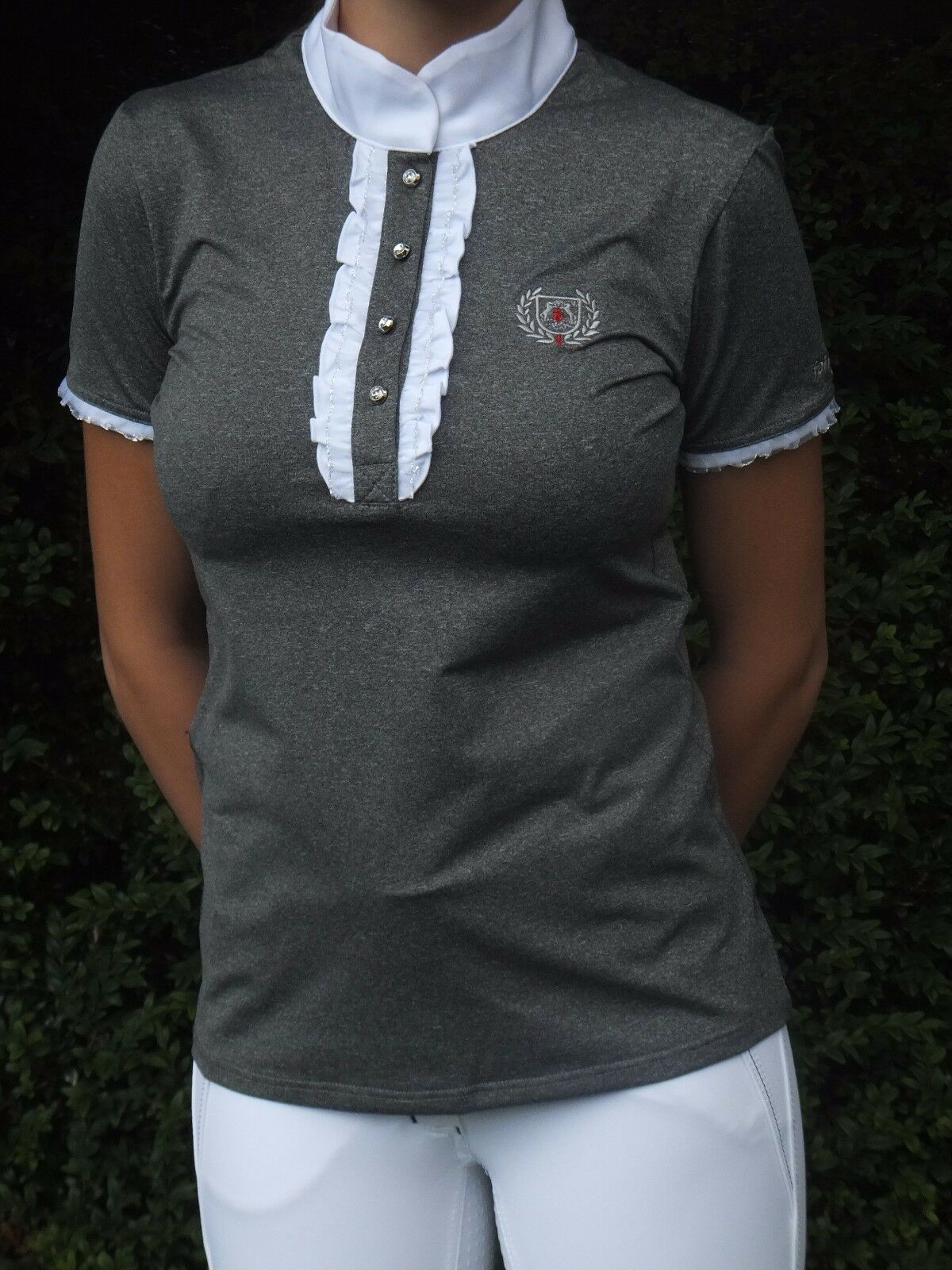 Fair Fair Fair Play Tuniershirt   Charlotte  grau weiß mit Rüschen und Glitzerdekor bc5234