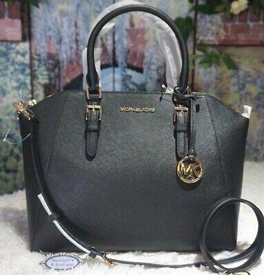 NWT MICHAEL KORS CIARA LARGE Top Zip Satchel Handbag In BLACK Leather $398 192317128888   eBay