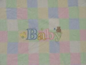 Baby Connection Pastel Color Block Square Blanket Bear Duck Fleece