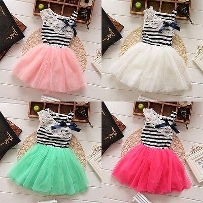 Toddler Baby Girls Lace Princess Tutu Skirt Party Birthday Formal Dress 2-5T T1
