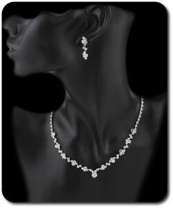 Intellektuell Schmuckset Kette Ohrringe Set Halskette Strass Braut Hochzeit Klar/silber Modernes Design
