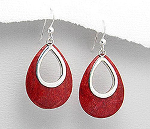 42mm  RED Sponge Coral  Solid Sterling Silver Teardrop Dangling  Earrings